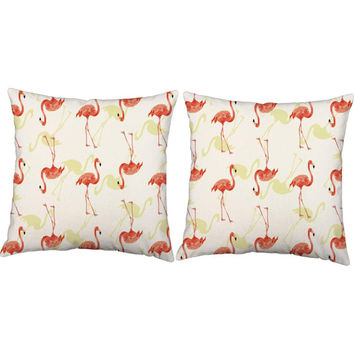 Set of 2 Fancy Flamingos Throw Pillows - Flamingo Print Pillow Covers with or without Cushion Inserts - Outdoor Pillows, Tiki Print, Beach