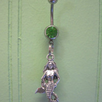 Belly Button Ring - Body Jewelry - Mermaid with Green Gem Stone Belly Button Ring