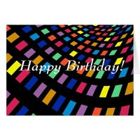 Cool colored lights happy birthday card