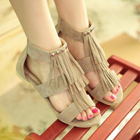 Summer new fashion Rome open-toed Women sandals with rivets tassel Women flat shoes
