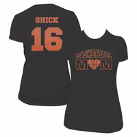 Custom Glitter Basketball Mom shirt, college high school basketball lover, glitter tshirt, customized bling sports top, basketball season
