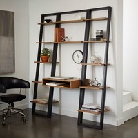 Ladder Shelf Desk + Narrow Bookshelf Set
