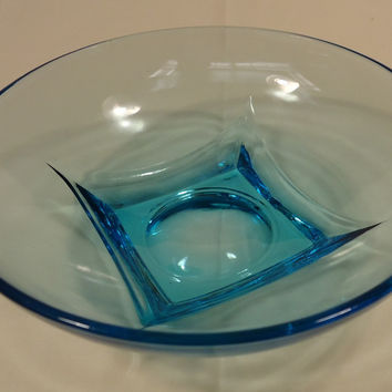 Designer 64-58FH Vintage Bowl Blue Depression Glassware 6in Glass  -- Very Good