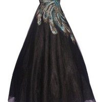 Strapless Mesh Peacock Long Gown Prom Dress