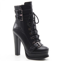 Luichiny Shoes Storm Chaser High Heel Platform Boots - Black