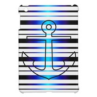 Nautical Anchor Blue Stripe Pattern iPad Mini Case from Zazzle.com
