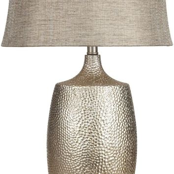 Lamp Global Table Lamp Hammered Silvertone Leaf Silver