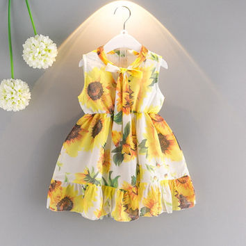 Chiffon Sunflower Print Tie Sleeveless O-neck Dress For Kids Girls