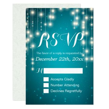 Elegant Turquoise String Lights Wedding RSVP Reply Card