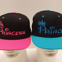 Prince and Princess Hats. Couple Hats. Love Caps, Matching Couple Hats.  Snap Back One Size Fits All. Prince Hat. Princess hat. Valentines