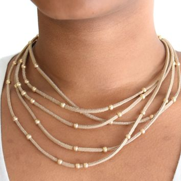 Multi Suede Gold Bead Necklace Tan