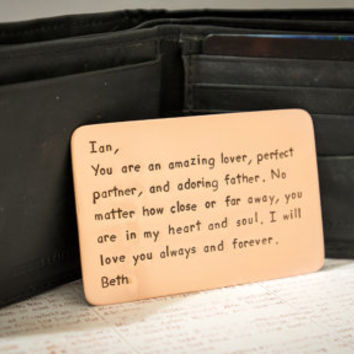 Father's Day Gift - For Dad - For Him - Anniversary Gift for Husband Boyfriend Spouse - Personalized Wallet Insert Card - Copper - Aluminum