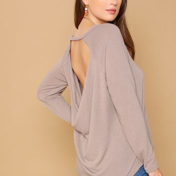 Draped Open Back Long Sleeve T-Shirt