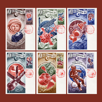 XX years of the Space Age (Artist R. Strelnikov) - Set of 6 Maxi-Card & 6 Stamped Envelope - Printed in the USSR, Moscow, 1977