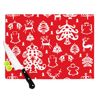 "Miranda Mol ""Warm Winter Red"" White Cutting Board"