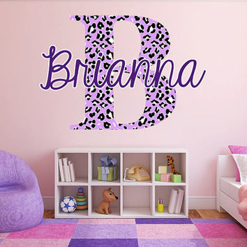 "Custom Color Cheetah Monogram Name Girls Room Vinyl Wall Decal Graphics 22"" tall Bedroom Decor"