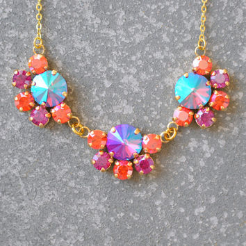 Orange Pink Small Statement Necklace Swarovski Crystal Fuchsia Tangerine Aurora Borealis Rhinestone Necklace Swarovski Necklace