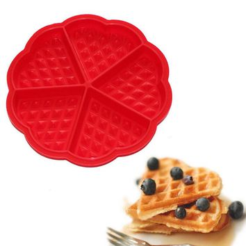 Heart-shaped Waffles Mold 5-Cavity Bundt Oven Muffins Cake Pan Silicone Mold Baking Mould Tool