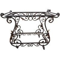 French Wrought Iron Serving Cart with Glass Shelves