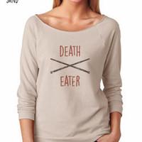 Harry Potter Inspired Clothing - Vintage Death Eater Slouchy 3/4 Sleeve Lightweight Raglan Tee - Ladies