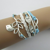 B050 Restore ancient ways the owl of eight leaves more fashionable bright beautiful hand-made by leather cord bracelet B4.5