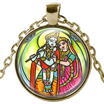 "Radha Krishna for Soul Mate Connections 1"" Round Pendant & Chain"