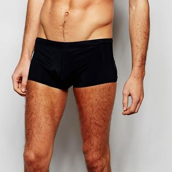 ASOS Swim Hipster Trunks In Black at asos.com