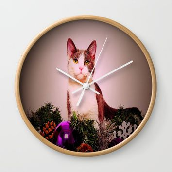 Christmas Kitten Wall Clock by Jessica Ivy