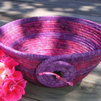 Coiled Fabric Bowl, Fabric Basket, Medium Batik Bowl, Pink and Purple