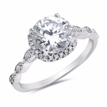 Sterling Silver CZ Simulated Diamond Halo Ring