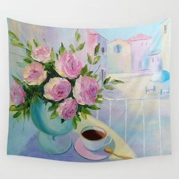Morning coffee Wall Tapestry by Olha Darchuk