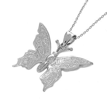 "sterling silver butterfly pendant on an 18"" silver cable chain. silver butterfly."