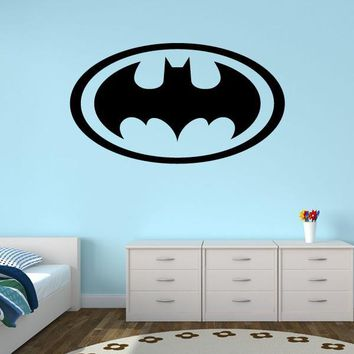 Batman Dark Knight gift Christmas New Design Batman Logo Wall Stickers For Bedroom Vinyl Baby Boy Nursery Wall Decal Waterproof Removable For Kids Rooms ZA027 AT_71_6