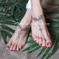 #Flower #Leaf #Barefoot #Sandals #Beach #Anklet #Toe #Chain #Wedding #Foot #Jewelry #Bridal #Ankle #Bracelet #Womens #Shoes #Clothing