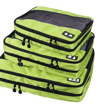 WORTHFIND Packing Cube-3 Pc Set Women's And Men's Travel Bags Men's Double Layer Travel Suitcase Men Foldable Luggage Bags