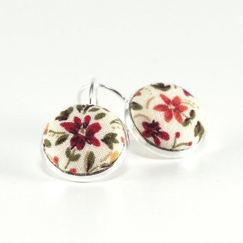 Autumn Flowers Silver Toned Leverback Earrings Terracotta Brown Flower with Green Leaves Fabric Covered Buttons Nickel Free Jewelry