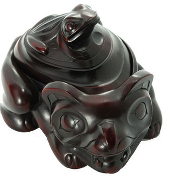 Bear and Frog Spirit Box with Removable Lid in Rosewood Color