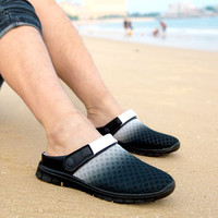 Man Woman 2016 New Hole Garden Cloges Shoes Plus Size Summer Net Flats Beach Sandals Mules Slippers Size 40 41 42 43 44 45 46