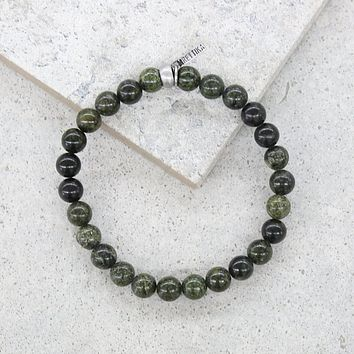 Army Green Stone and Silver Ox Elastic Bracelet
