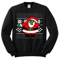 Dabbing Santa Claus Ugly Christmas Sweater | Youth Crewneck Sweatshirt