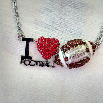 I Heart Football Necklace