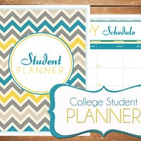 Instant Download - Student - College Planner Chevron Printable Planner Organizer  - (Organized Family Binder)
