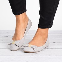 Bow Faux Suede Flats - Grey