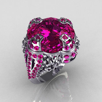 Signature Royal 10K White Gold 14.5 MM Cushion Cut Pink Sapphire Lace Knot Wedding Ring R121-10WGPSS