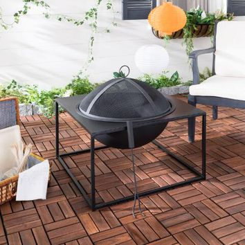Open Square Black Iron Auston Fire Pit