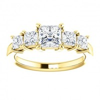 18K Yellow Gold 1.25 ct 5 Princess Diamond Anniversary Ring - Sarraf.com