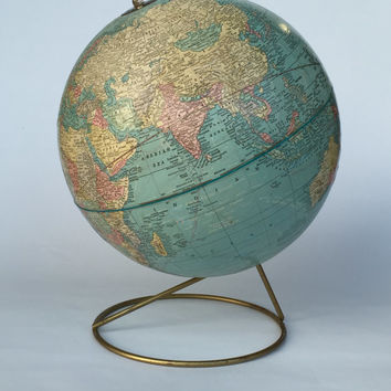 Antique Cram's Imperial 12 Inch World Globe, Vintage Globe, Vintage Cram's Globe, Cram's Imperial Globe, Antique Office Decor