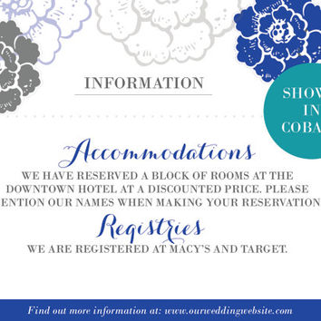 Printable Customized Wedding Set: Information Card