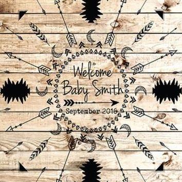 Custom Baby Shower Backdrop Wood Black Boho Background - C0127