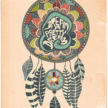 "Dream Catcher Print Art ""THE DREAM CATCHER - No.1"" 11x14 Dream Catcher Poster Hand Drawn Illustration"